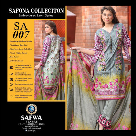 SA007 - SAFWA LAWN - SAFONA COLLECTION - EMBROIDERED - 3 PIECE DRESS, Three Piece Suit, SAFWA, SAFWA Brand - Pakistani Dresses | Kurtis | Shalwar Kameez | Online Shopping | Lawn Dress
