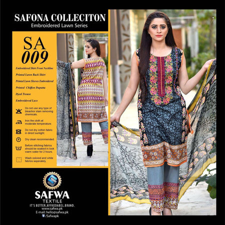 SA009 - SAFWA LAWN - SAFONA COLLECTION - EMBROIDERED - 3 PIECE DRESS, Three Piece Suit, SAFWA, SAFWA Brand - Pakistani Dresses | Kurtis | Shalwar Kameez | Online Shopping | Lawn Dress