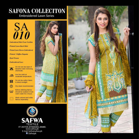 SA010 - SAFWA LAWN - SAFONA COLLECTION - EMBROIDERED - 3 PIECE DRESS, Three Piece Suit, SAFWA, SAFWA Brand - Pakistani Dresses | Kurtis | Shalwar Kameez | Online Shopping | Lawn Dress