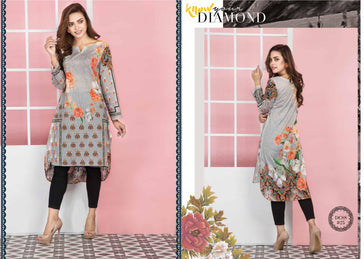 DCSS-25- SAFWA DIGITAL COTTON Satin PRINT KURTI COLLECTION -SHIRT KURTI KAMEEZ