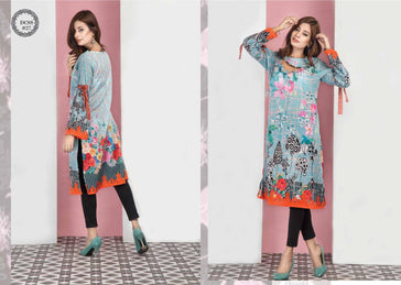 DCSS-27- SAFWA DIGITAL COTTON Satin PRINT KURTI COLLECTION -SHIRT KURTI KAMEEZ