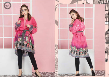 DCSS-30- SAFWA DIGITAL COTTON Satin PRINT KURTI COLLECTION -SHIRT KURTI KAMEEZ