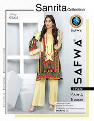 ST 03-SAFWA SANRITA LAWN COLLECTION VOL 1 2020- PRINTED -2 PIECE DRESS