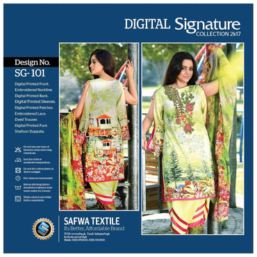 SG101 - SAFWA DIGITAL - SIGNATURE COLLECTION - EMBROIDERED - 3 PIECE SUIT - LAWN