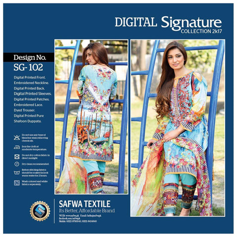 SG102 - SAFWA DIGITAL - SIGNATURE COLLECTION - EMBROIDERED - 3 PIECE SUIT - LAWN