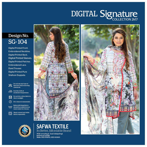 SG104 - SAFWA DIGITAL - SIGNATURE COLLECTION - EMBROIDERED - 3 PIECE SUIT - LAWN