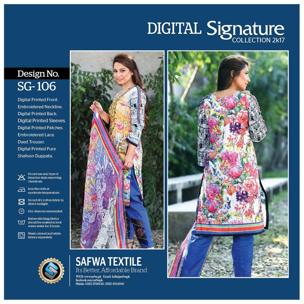 SG106 - SAFWA DIGITAL - SIGNATURE COLLECTION - EMBROIDERED - 3 PIECE SUIT - LAWN, Three Piece Suit, SAFWA, SAFWA Brand - Pakistani Dresses | Kurtis | Shalwar Kameez | Online Shopping | Lawn Dress