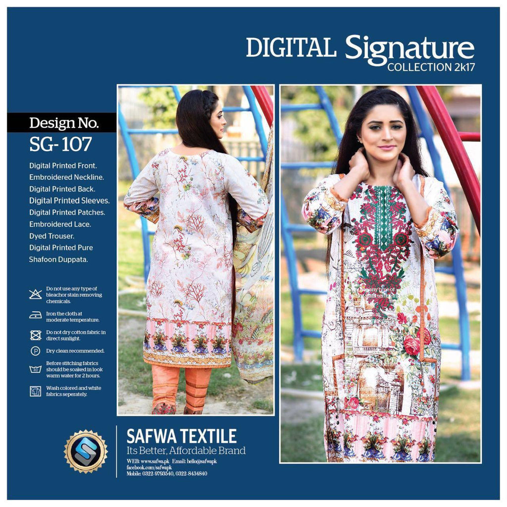 SG107 - SAFWA DIGITAL - SIGNATURE COLLECTION - EMBROIDERED - 3 PIECE SUIT - LAWN, Three Piece Suit, SAFWA, SAFWA Brand - Pakistani Dresses | Kurtis | Shalwar Kameez | Online Shopping | Lawn Dress