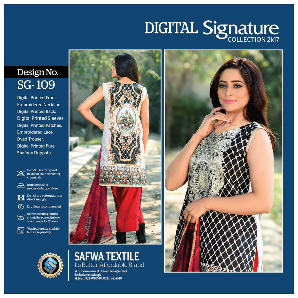 SG109 - SAFWA DIGITAL - SIGNATURE COLLECTION - EMBROIDERED - 3 PIECE SUIT - LAWN, Three Piece Suit, SAFWA, SAFWA Brand - Pakistani Dresses | Kurtis | Shalwar Kameez | Online Shopping | Lawn Dress