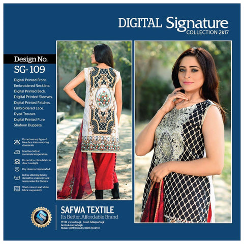 SG109 - SAFWA DIGITAL - SIGNATURE COLLECTION - EMBROIDERED - 3 PIECE SUIT - LAWN
