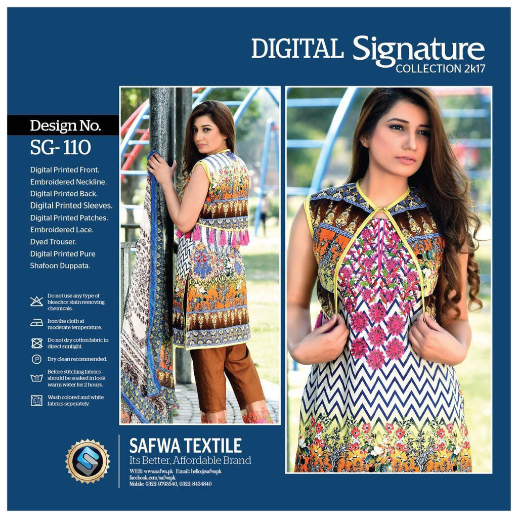 SG110 - SAFWA DIGITAL - SIGNATURE COLLECTION - EMBROIDERED - 3 PIECE SUIT - LAWN, Three Piece Suit, SAFWA, SAFWA Brand - Pakistani Dresses | Kurtis | Shalwar Kameez | Online Shopping | Lawn Dress