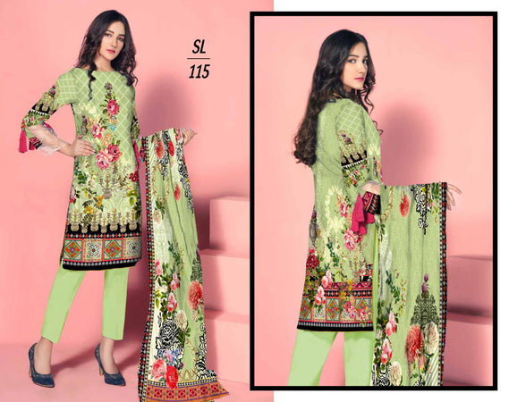 SL-1115-SAFWA LAWN-SALVIA COLLECTION- PRINTED -Embroidered -2 PIECE DRESS