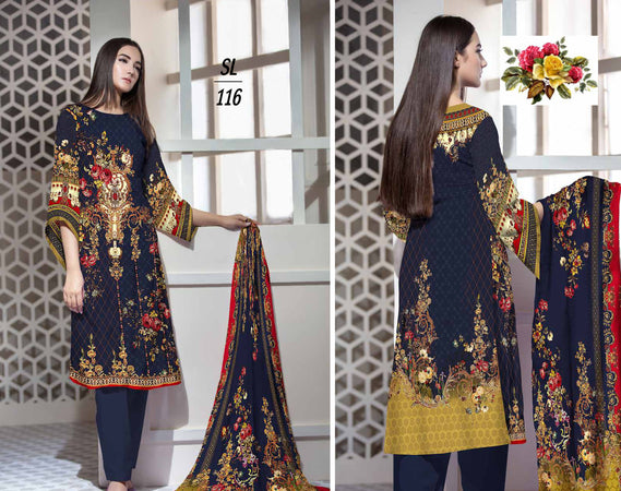 SL-1116-SAFWA LAWN-SALVIA COLLECTION- PRINTED -Embroidered -2 PIECE DRESS