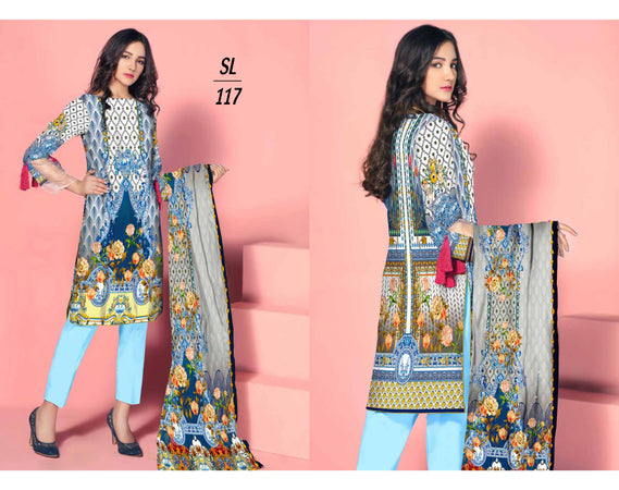 SL-1117-SAFWA LAWN-SALVIA COLLECTION- PRINTED  -2 PIECE DRESS