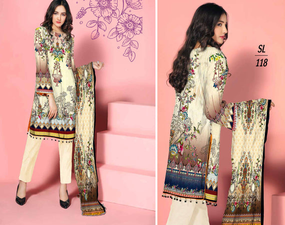 SL-1118-SAFWA LAWN-SALVIA COLLECTION- PRINTED -2 PIECE DRESS