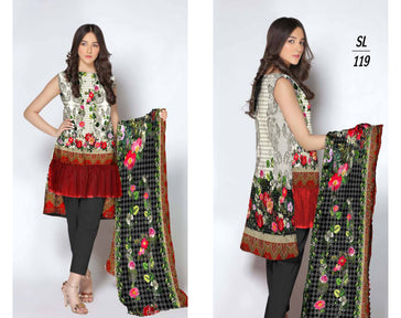 SL-1119-SAFWA LAWN-SALVIA COLLECTION- PRINTED  -2 PIECE DRESS - Two Piece Suit - Safwa Pakistan Fashion