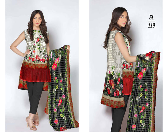 SL-1119-SAFWA LAWN-SALVIA COLLECTION- PRINTED  -2 PIECE DRESS