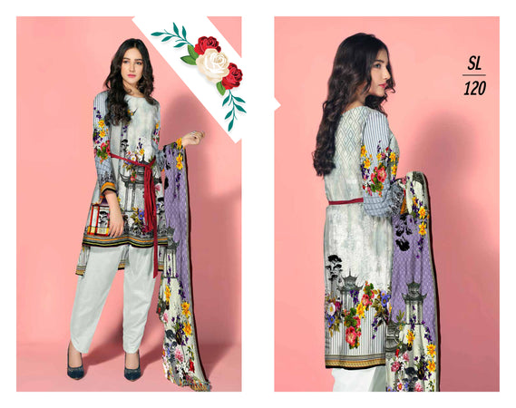 SL-1120-SAFWA LAWN-SALVIA COLLECTION- PRINTED -2 PIECE DRESS - Two Piece Suit - Safwa Pakistan Fashion