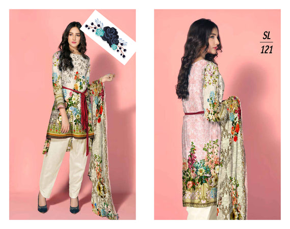 SL-1121-SAFWA LAWN-SALVIA COLLECTION- PRINTED -2 PIECE DRESS