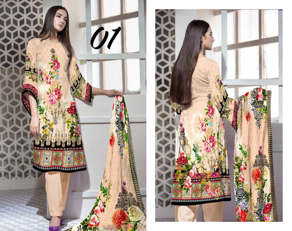 SL-1122-SAFWA LAWN-SALVIA COLLECTION- PRINTED -2 PIECE DRESS - Two Piece Suit - Safwa Pakistan Fashion
