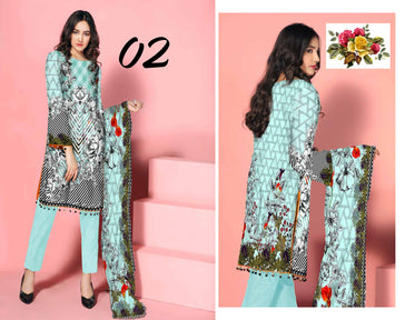SL-1123-SAFWA LAWN-SALVIA COLLECTION- PRINTED -2 PIECE DRESS