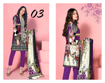 SL-1124-SAFWA LAWN-SALVIA COLLECTION- PRINTED -2 PIECE DRESS