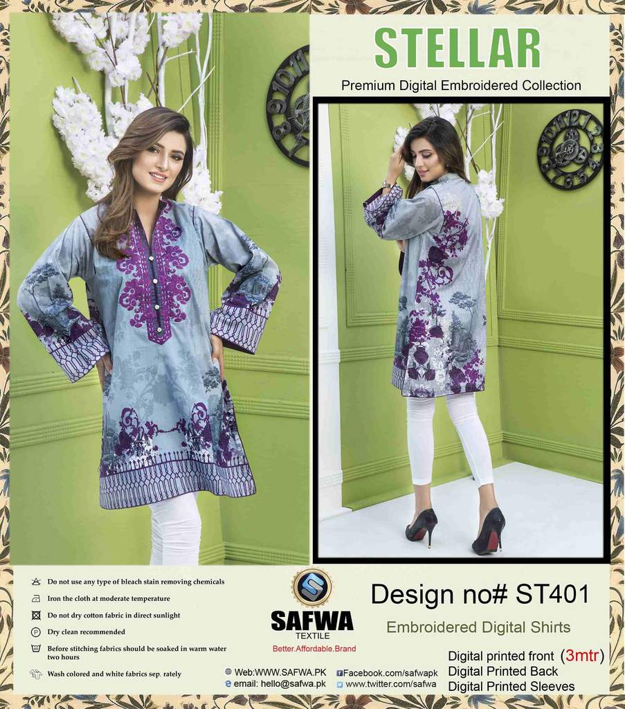 ST-401 - SAFWA PREMIUM LAWN - STELLER COLLECTION - EMBROIDERY DIGITAL  - 2-Piece Dress