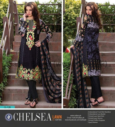 Three Piece Suit - BLACK-UNSTITCHED-SAFWA-CL12B