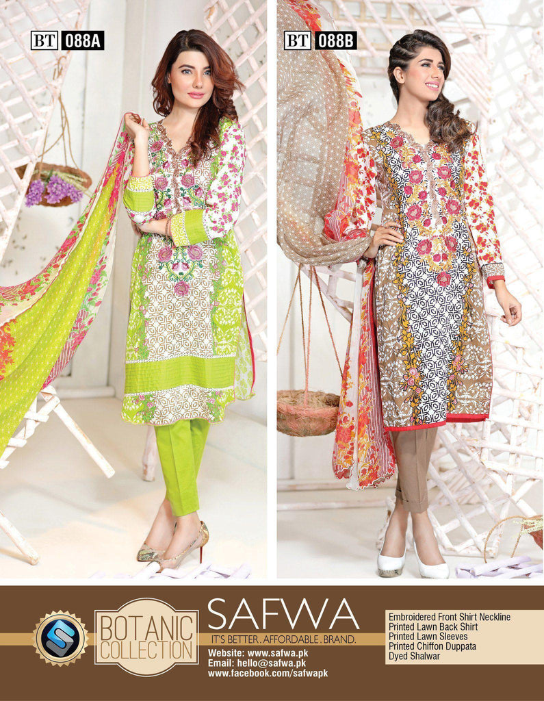 Three Piece Suit - BT088 - SAFWA - THREE PIECE SUIT - BOTANIC COLLECTION - LAWN