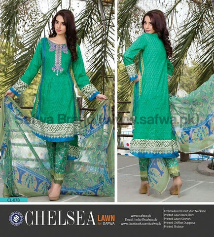 Three Piece Suit - CARIBBEAN GREEN-UNSTITCHED-SAFWA-CL07B
