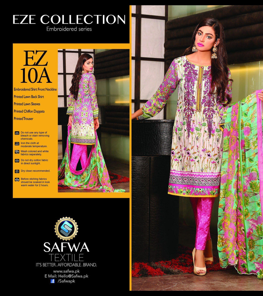 Three Piece Suit - EZ10A - SAFWA - EZE COLLECTION - THREE PIECE SUIT - LAWN