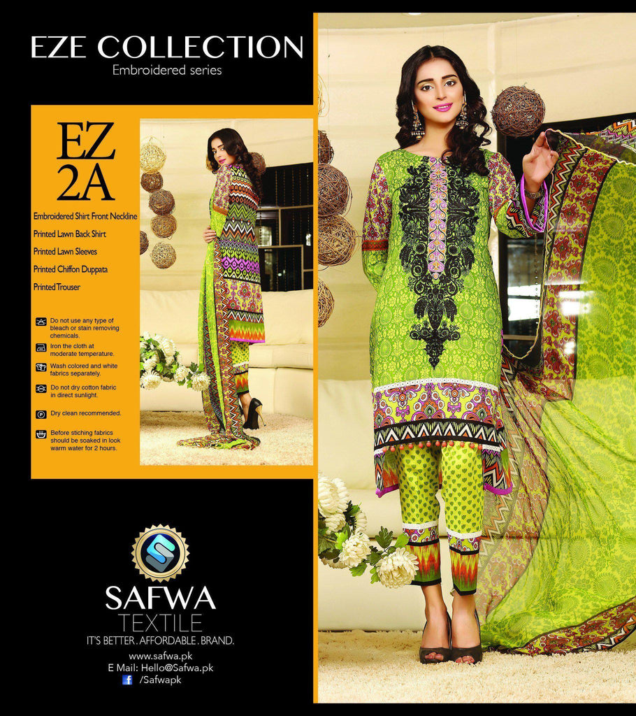 Three Piece Suit - EZ2A - SAFWA - EZE COLLECTION - THREE PIECE SUIT - LAWN