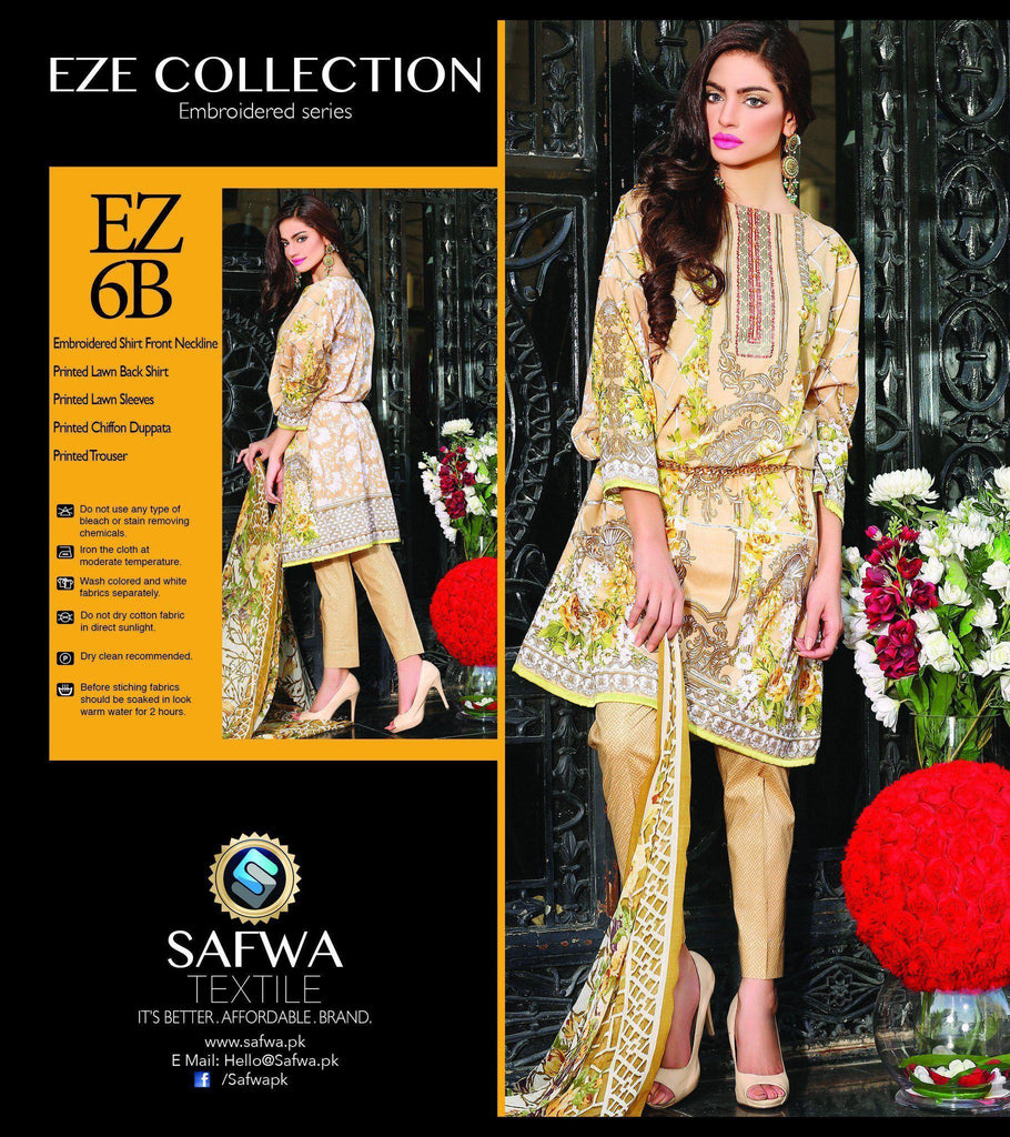 Three Piece Suit - EZ6B - SAFWA - EZE COLLECTION - THREE PIECE SUIT - LAWN
