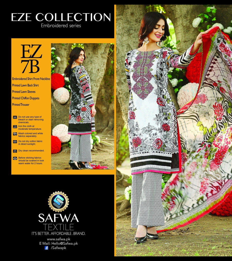 Three Piece Suit - EZ7B - SAFWA - EZE COLLECTION - THREE PIECE SUIT - LAWN