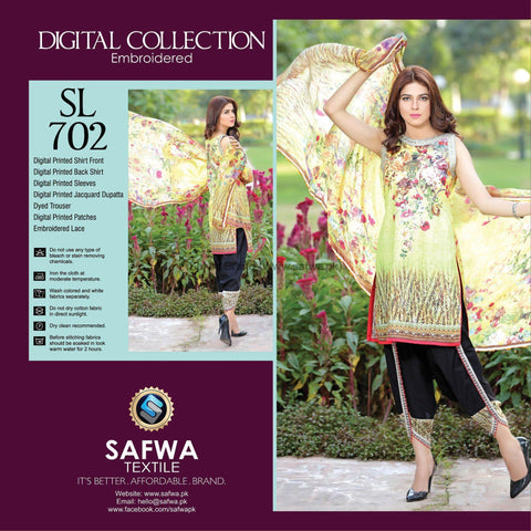 Three Piece Suit - SL702-SAFWA DIGITAL-SELFIE COLLECTION-THREE PIECE SHALWAR KAMEEZ-LINEN