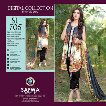 Three Piece Suit - SL705-SAFWA DIGITAL-SELFIE COLLECTION-THREE PIECE SHALWAR KAMEEZ-LINEN