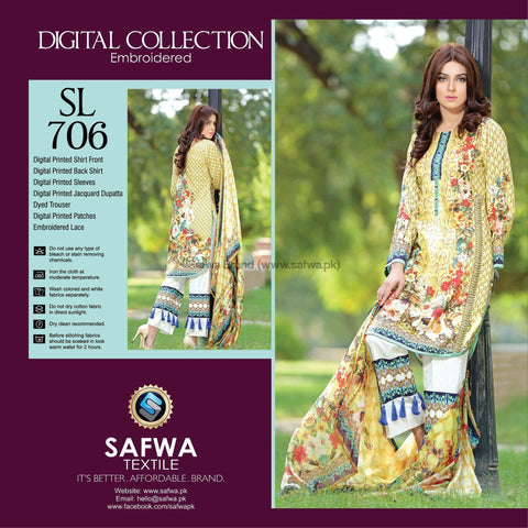 Three Piece Suit - SL706-SAFWA DIGITAL-SELFIE COLLECTION-THREE PIECE SHALWAR KAMEEZ-LINEN