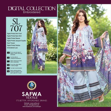 Three Piece Suit - SL707-SAFWA DIGITAL-SELFIE COLLECTION-THREE PIECE SHALWAR KAMEEZ-LINEN