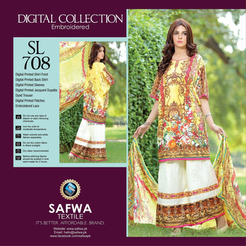 Three Piece Suit - SL708-SAFWA DIGITAL-SELFIE COLLECTION-THREE PIECE SHALWAR KAMEEZ-LINEN