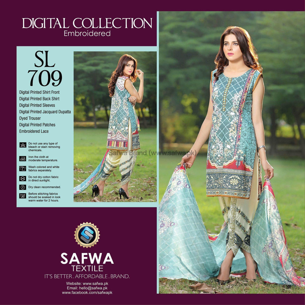 Three Piece Suit - SL709-SAFWA DIGITAL-SELFIE COLLECTION-THREE PIECE SHALWAR KAMEEZ-LINEN