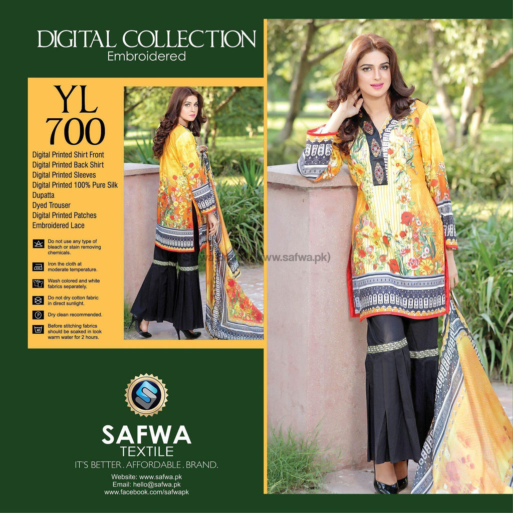 Three Piece Suit - YL700 - SAFWA DIGITAL - YOLO COLLECTION - EMBROIDERED - THREE PIECE SUIT - COTTON & SILK