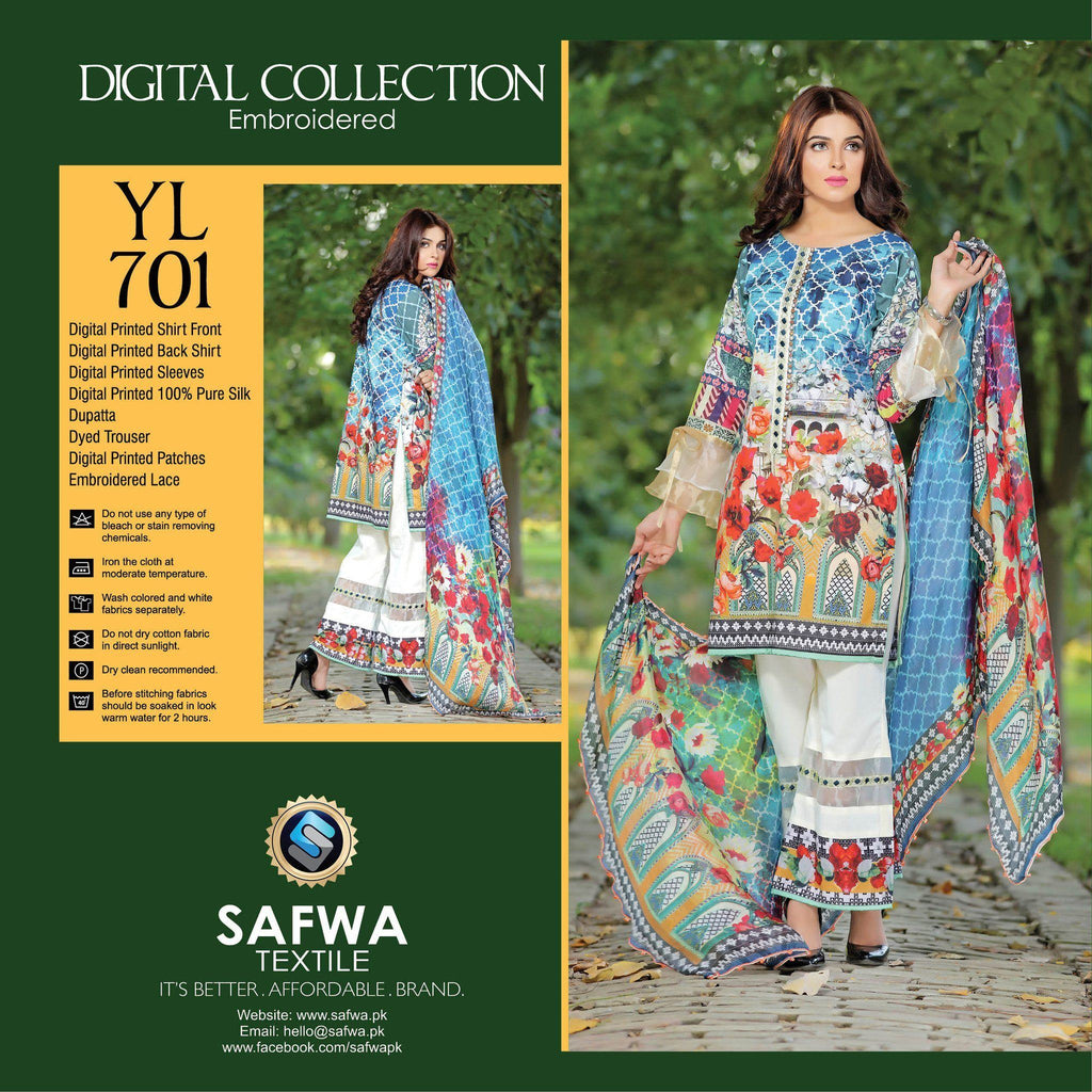 Three Piece Suit - YL701 - SAFWA DIGITAL - YOLO COLLECTION - EMBROIDERED - THREE PIECE SUIT - COTTON & SILK