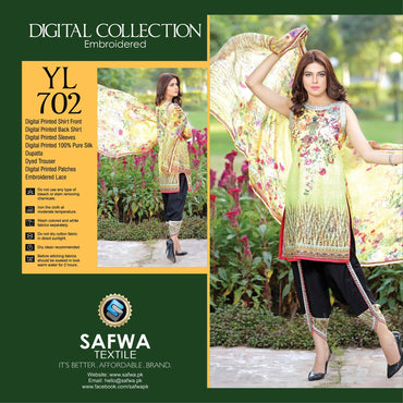 Three Piece Suit - YL702 - SAFWA DIGITAL - YOLO COLLECTION - EMBROIDERED - THREE PIECE SUIT - COTTON & SILK