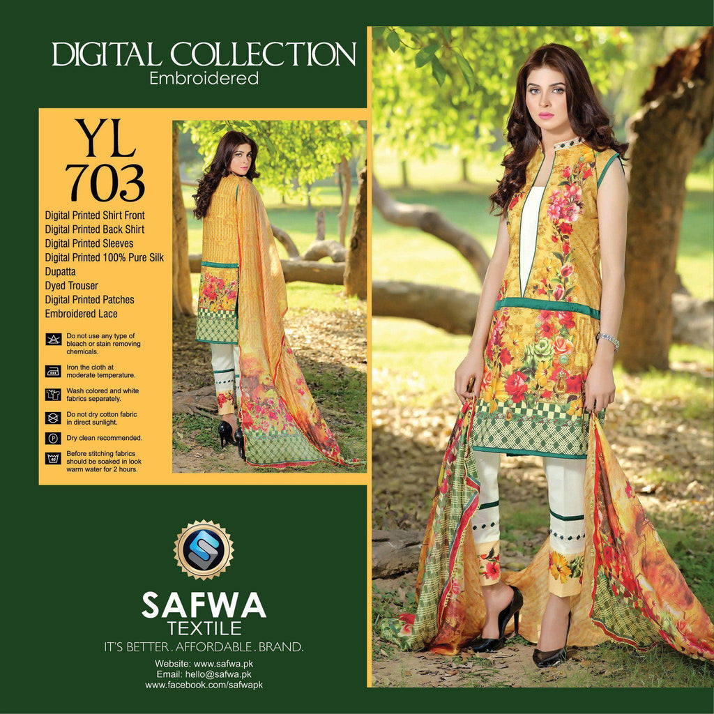 Three Piece Suit - YL703 - SAFWA DIGITAL - YOLO COLLECTION - EMBROIDERED - THREE PIECE SUIT - COTTON & SILK