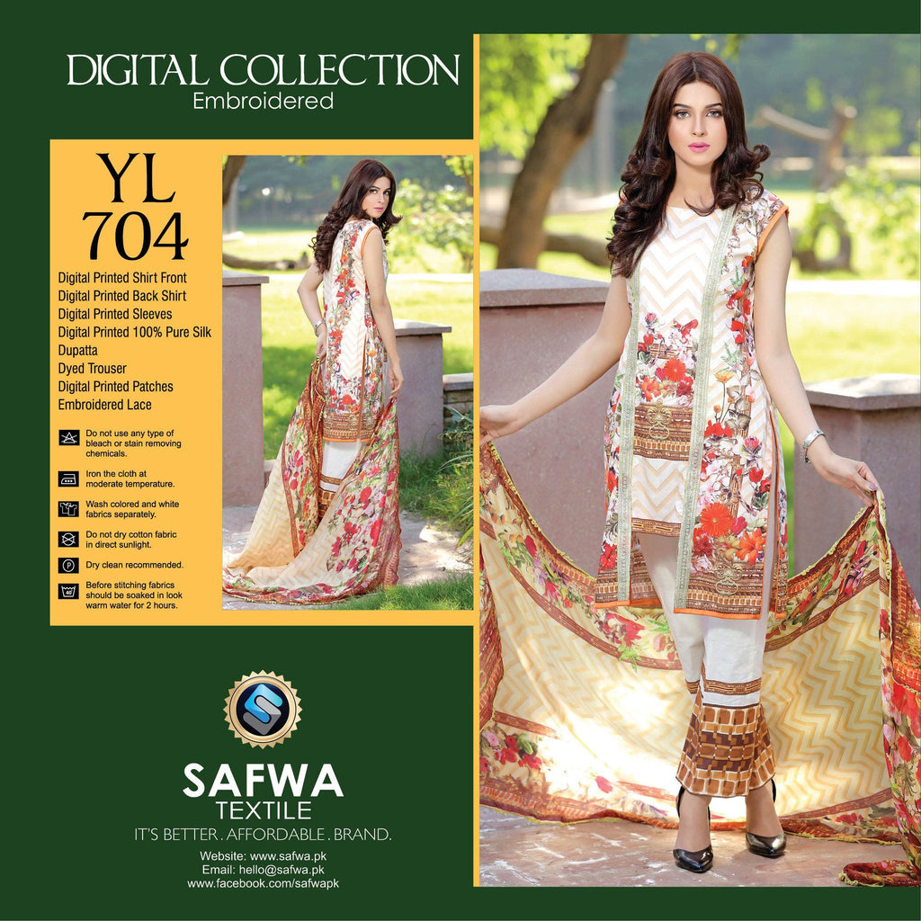 Three Piece Suit - YL704 - SAFWA DIGITAL - YOLO COLLECTION - EMBROIDERED - THREE PIECE SUIT - COTTON & SILK