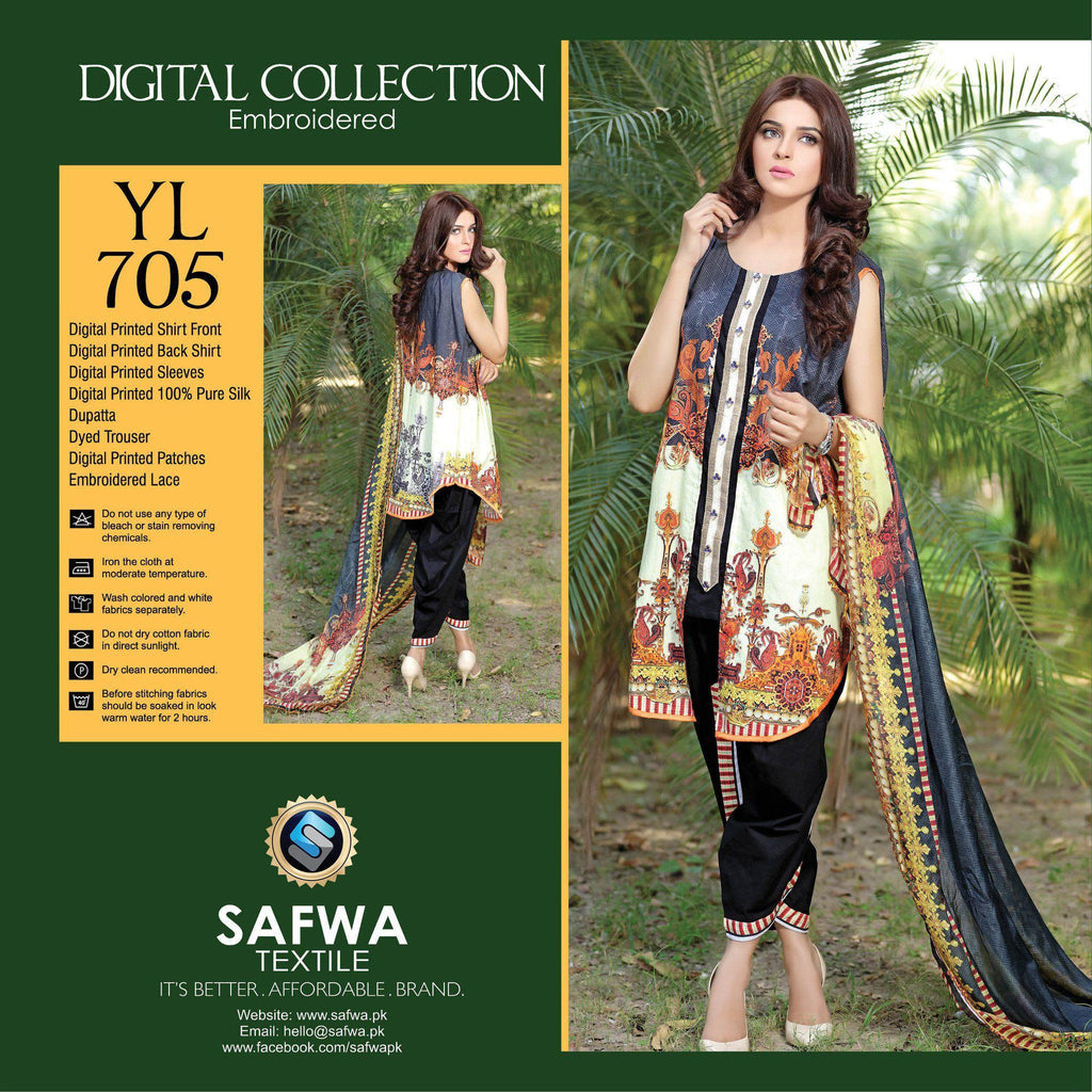 Three Piece Suit - YL705 - SAFWA DIGITAL - YOLO COLLECTION - EMBROIDERED - THREE PIECE SUIT - COTTON & SILK