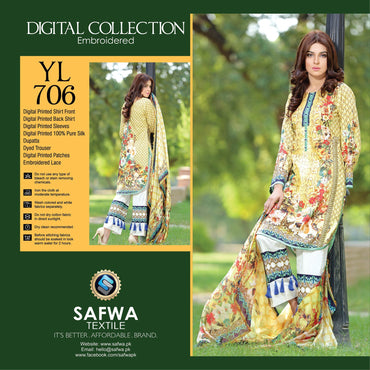 Three Piece Suit - YL706 - SAFWA DIGITAL - YOLO COLLECTION - EMBROIDERED - THREE PIECE SUIT - COTTON & SILK