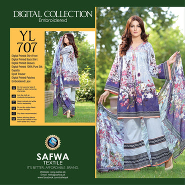 Three Piece Suit - YL707 - SAFWA DIGITAL - YOLO COLLECTION - EMBROIDERED - THREE PIECE SUIT - COTTON & SILK