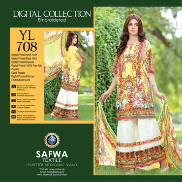 Three Piece Suit - YL708 - SAFWA DIGITAL - YOLO COLLECTION - EMBROIDERED - THREE PIECE SUIT - COTTON & SILK