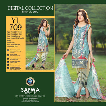 Three Piece Suit - YL709 - SAFWA DIGITAL - YOLO COLLECTION - EMBROIDERED - THREE PIECE SUIT - COTTON & SILK